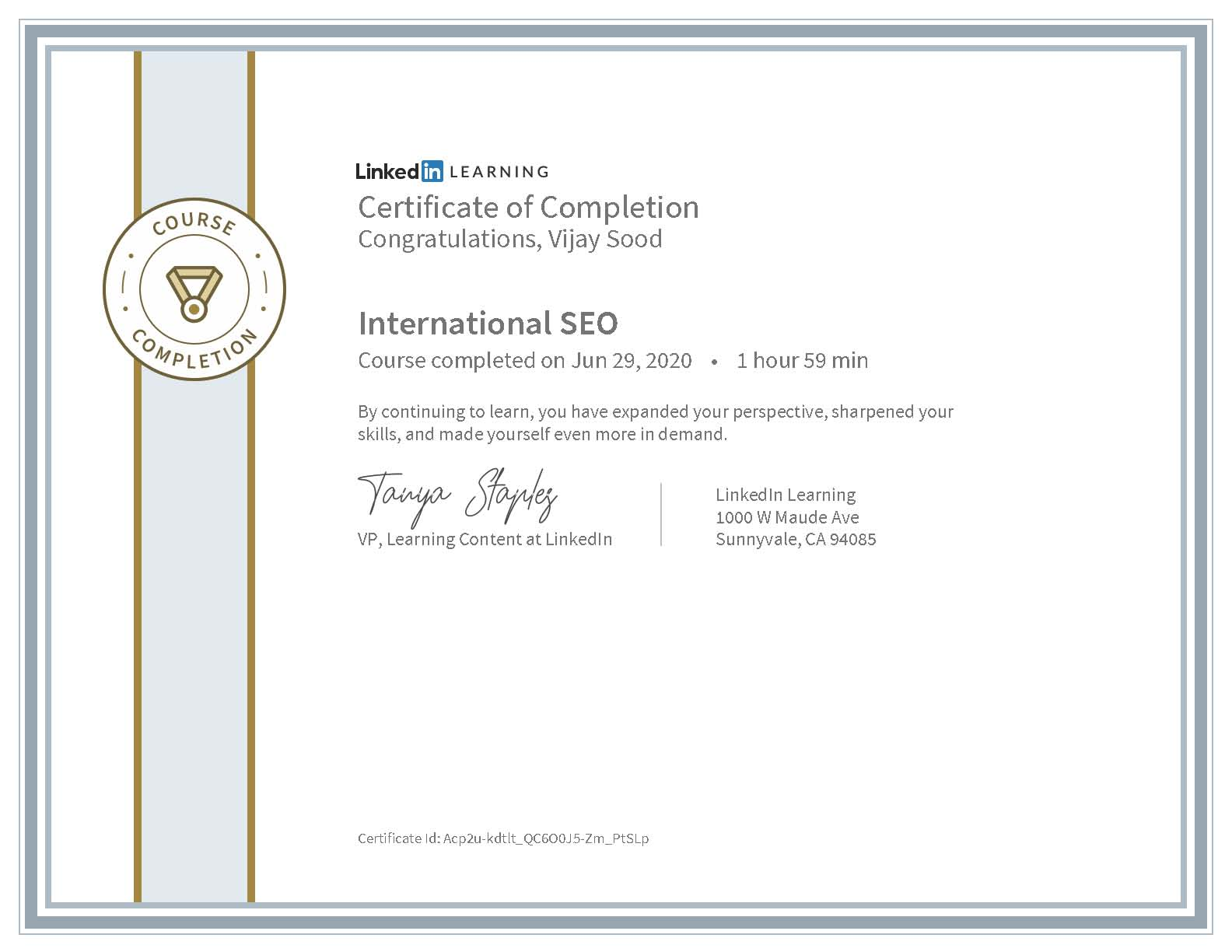 CertificateOfCompletion International SEO