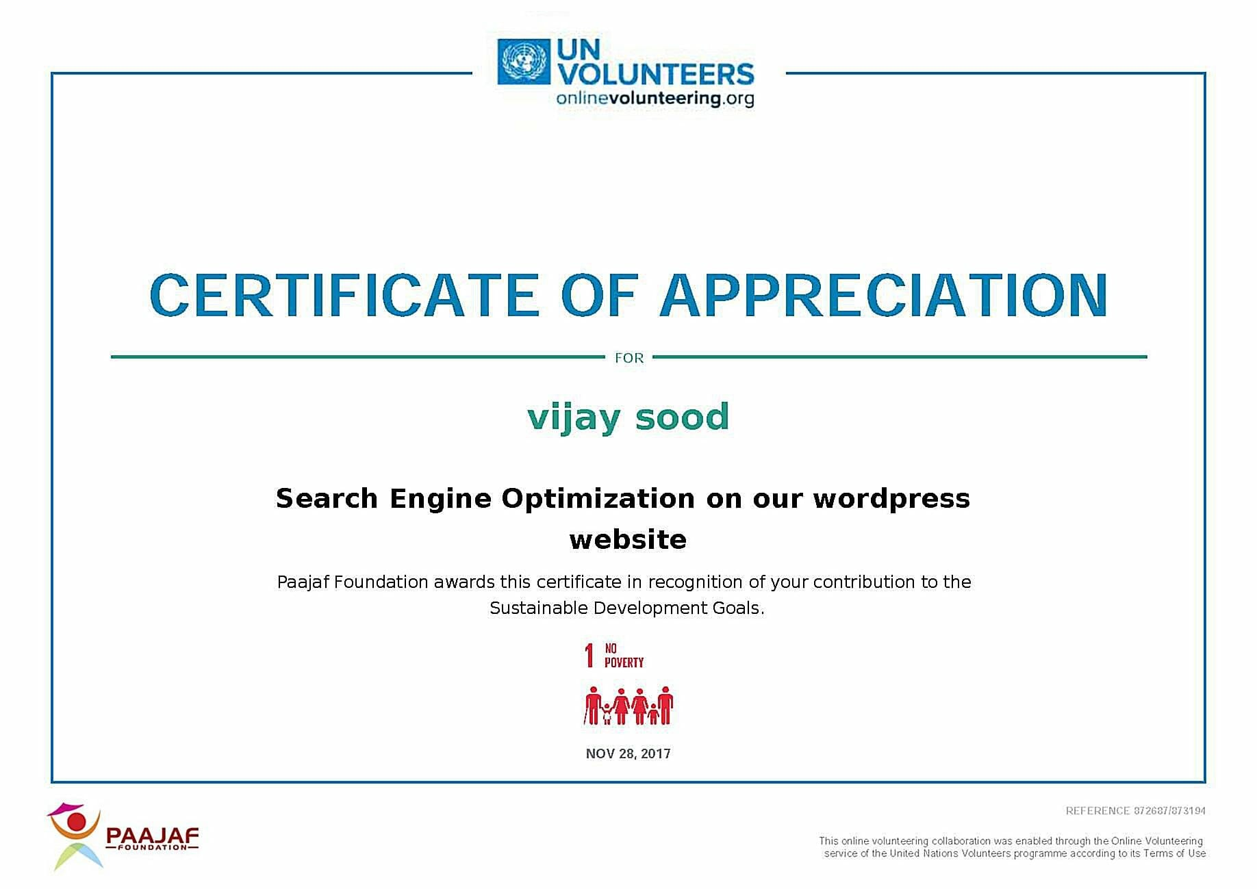 UN volunteers Certificate Vijay Sood SwiftPropel
