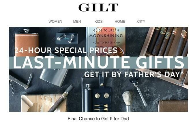 Gilt last minute gifts ad