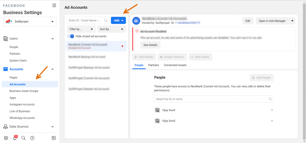 Create an ad account within FB business manager account by adding payment method