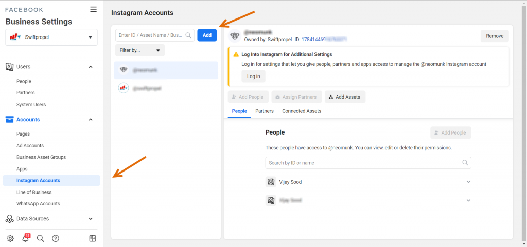 Adding Instagram account to the Facebook Business Manager